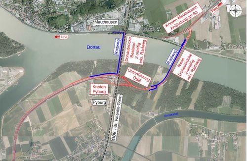 Betroffenes Gebiet aus der Vogelperspektive, Donau und Einmündung des Ennsflusses, grafische Darstellung der Verkehrsführung