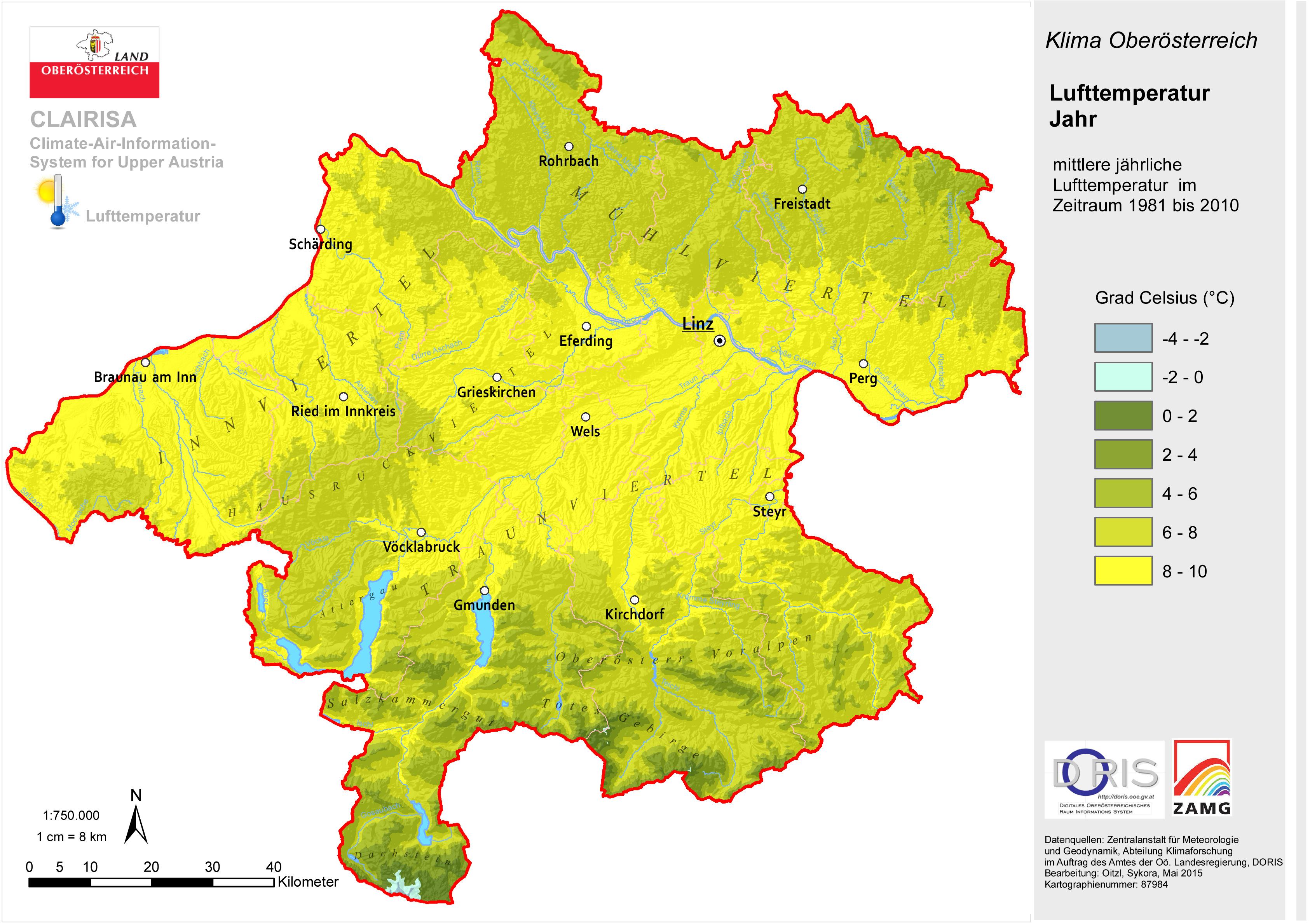 mühlviertel karte Land Oberösterreich   Klima in Oberösterreich
