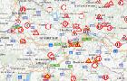 Screenshot einer Landkarte mit Baustellensymbolen (Foto: Abt. GVOEV)