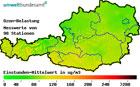 Österreichkarte mit farblich eingezeichneter Ozonbelastung (Foto: Umweltbundesamt)